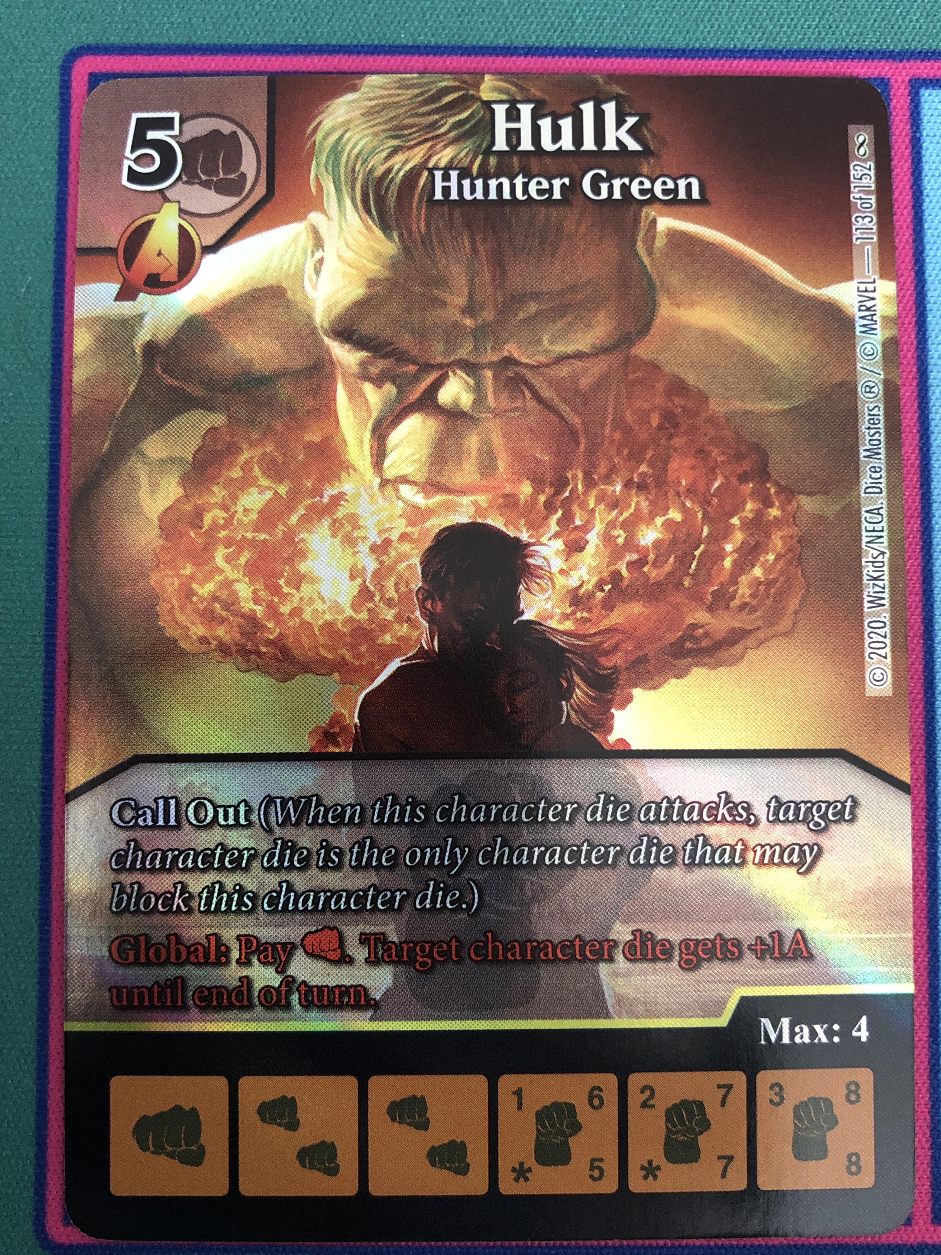 "Dice Masters Infinity Gauntlet, Hulk ""Hunter Green"""